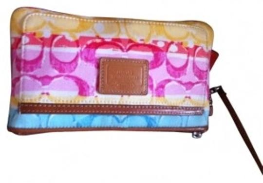 Preload https://item2.tradesy.com/images/coach-yellow-pink-blue-and-beige-leather-wristlet-17311-0-0.jpg?width=440&height=440