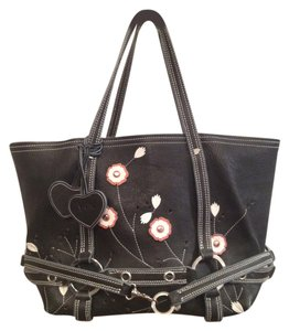 Luella Leather Studded Floral Tote in Black