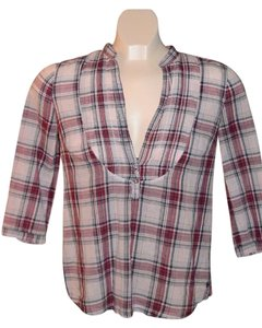 Abercrombie & Fitch Adorable Top Grey/White/Red Plaid