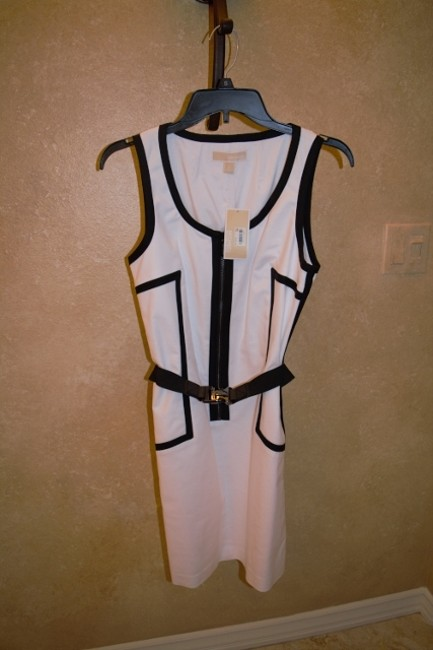 White and Black trim Maxi Dress by Michael Kors New With Tags Dryclean Only Elastic Belt With Accents