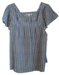 Banana Republic Silk Square Neckline Top Blue, White, Green, Black