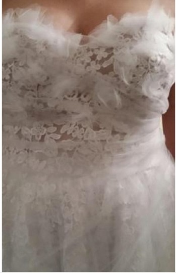 White Lace and Tulle Hand Made Feminine Dress Size 6 (S)