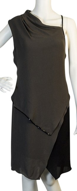 Item - Gray / Black Above Knee Night Out Dress Size 8 (M)