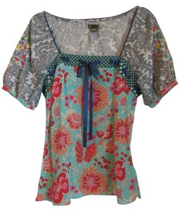 Anthropologie Peasant Silk Pattern Mix Top Multi
