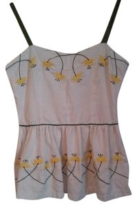 Anthropologie Embroidery Peplum Top White, Yellow, Green