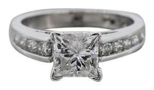 1.50carat Princess Cut Diamond Solitaire with Side Accents EGL Engagement Ring