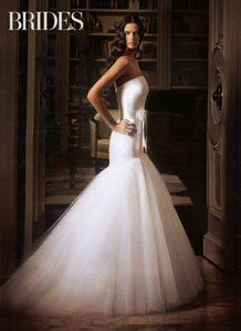 Romona Keveza Mermaid L255 English Net Tulle Ivory Strapless Ruched Wedding Dress