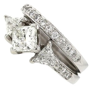 Exquisite Ladies GIA Platinum 1.88ctw Diamond Engagement Wedding Ring Band Set