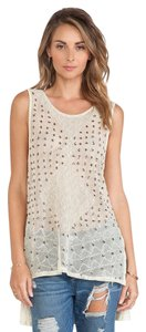 Free People Anjani Embellished Top Cream yellow/gold