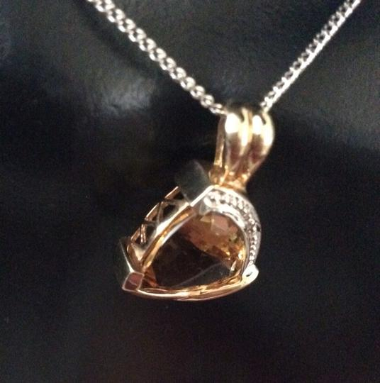 Other Trilliant Cut Citrine Pendant With Diamonds, The New November Birthstone