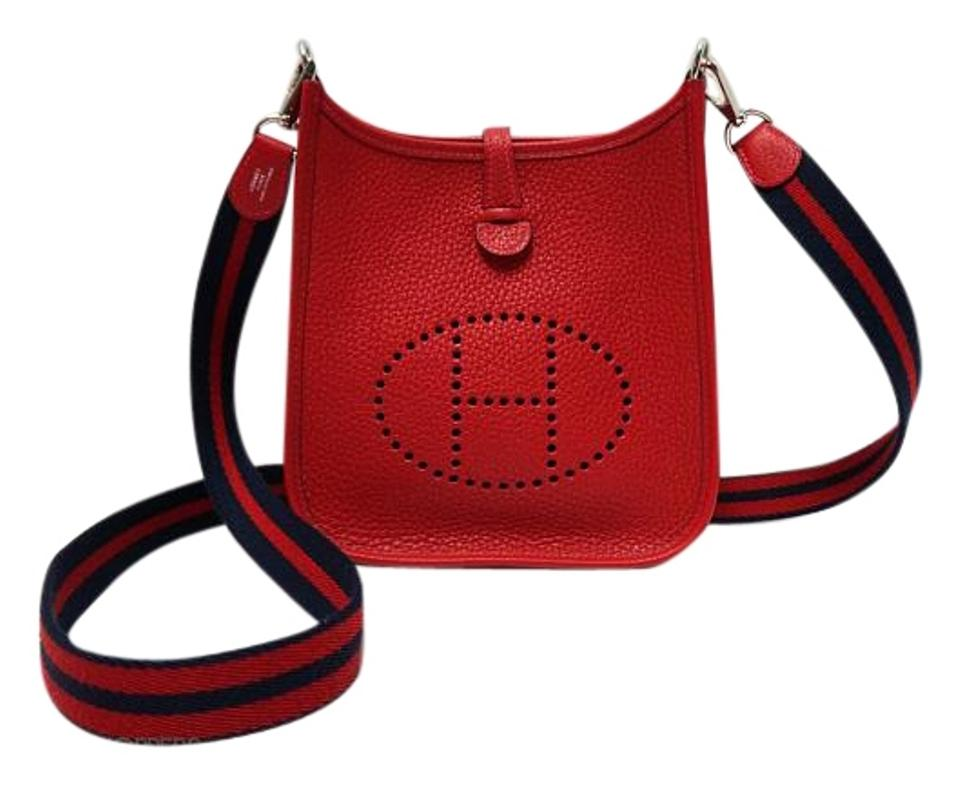 Hermès Evelyne Iii Tpm Red Togo   Clemence Leather Cross Body Bag ... 779f05dff6b50
