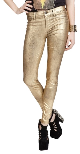 Item - Metallic Gold Leafing Over Black Coated New Finish Legging-style Skinny Jeans Size 28 (4, S)