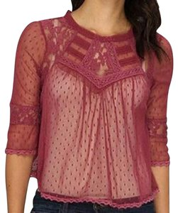 Free People Red Maroon Lace Crochet Crop Top Rutabaga