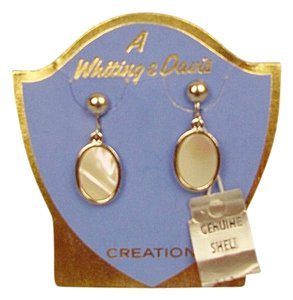 Whiting & Davis Whiting & Davis Mother of Pearl Screw-Back Earrings on Original Card