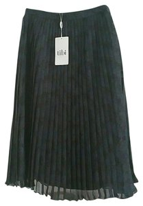 Tibi Plaid Pleated Silk Houndstooth Skirt Grey