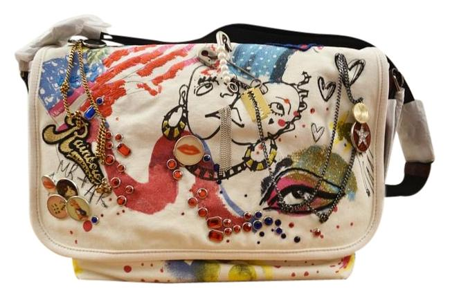 Item - Collage Pins and Charms Multicolor Canvas Messenger Bag