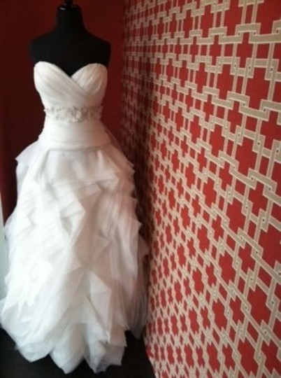 Wtoo Ivory Organza Modern Wedding Dress Size 10 (M)