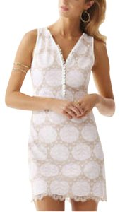 Lilly Pulitzer short dress White/Gold Lace on Tradesy