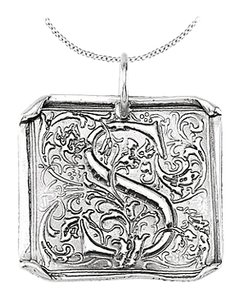 LoveBrightJewelry Sterling Silver 925 Rhodium Plating Vintage Letter S Initial Pendant Necklace