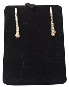DIAMOND, 14K GOLD AND STERLING SILVER EARRLINGS