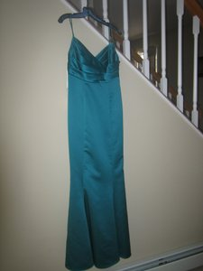 David's Bridal Teal Spaghetti Strap & Trumpet Skirt Dress