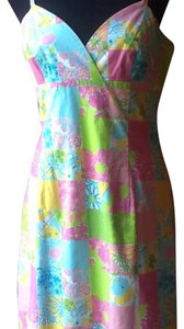 Lilly Pulitzer short dress Multicolor patchwork. Lime green, sky blue, sunflower yellow and of course the Lilly Pink! on Tradesy
