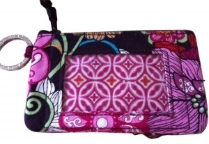 Vera Bradley Wristlet in Maroon and pink flowers