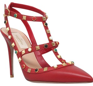 Valentino Leather Studded Red 39.5(EU) NWT Pumps