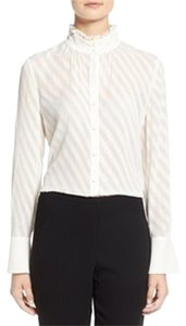 Ellen Tracy Ruffle Button Down Top White