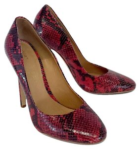 KG Kurt Geiger Red Snakeskin Patent Leather Pumps