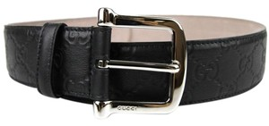 Gucci NEW Authentic GUCCI Black Guccissima Leather Belt Large Buckle 80/32 281548 1000