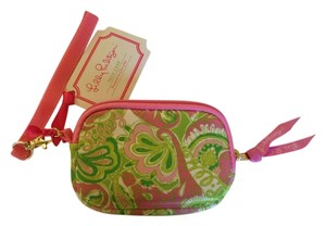 Lilly Pulitzer Camera Case Phone Case Key Chain Tech Case Chin Chin Wristlet in Pink Green Floral