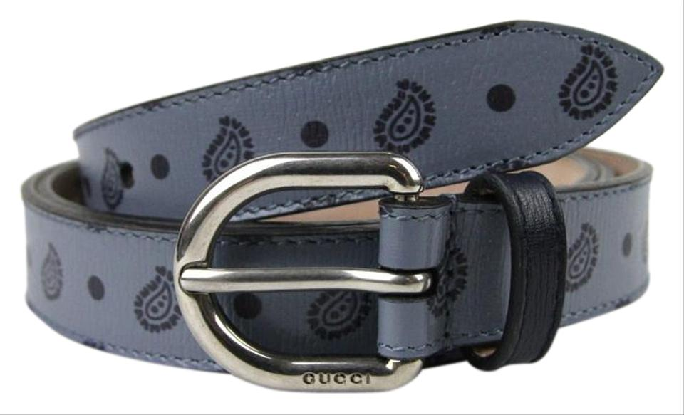 66bdc8affd2 Gucci New Blue Paisley Flora Print Thin Leather Belt 337125 4760 95 38  Image 0 ...