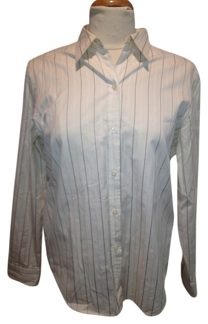 Lauren Ralph Lauren Button Down Shirt White and Navy Stripes