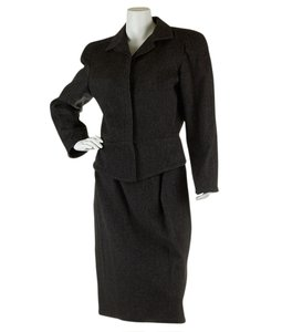 Versace Gianni Versace Women's Dark Grey Wool Skirt Suit, Sz 40 (28291)