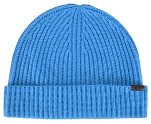 Burberry NEW Burberry Cerulean Blue 100% Cashmere Knit Logo Beanie Hat O/S