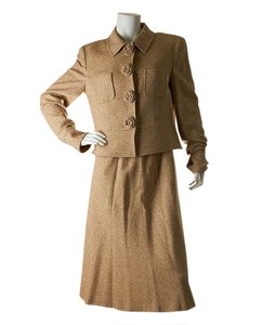 Escada Escada Women's Beige Cashmere Blend Skirt Suit, Size 42 (24099)