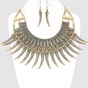 Other Russian Gold Tribal Horn Necklace Bib Collar Pendant Earring Set