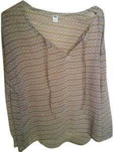 Old Navy Sheer Long Sleeve Top Taupe print