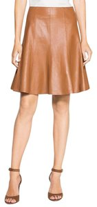 White House | Black Market Leather A-line Skirt Tan