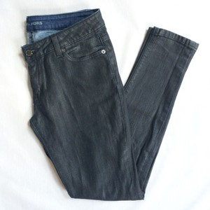 Michael Kors Waxed Cotton Logo Skinny Jeans-Dark Rinse