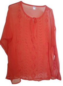 Old Navy Embroidered Long Sleeve Sheer Top Carrot Orange