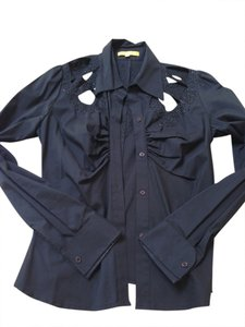 Catherine Malandrino Button Down Shirt black / black beading