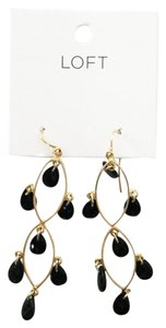 Ann Taylor LOFT Dangling Chandelier Earrings Gold & Black