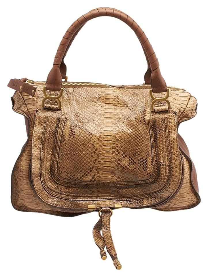 Chloé Marcie Python Satchel In Brown