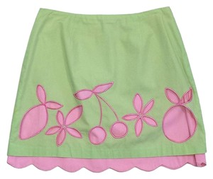 Lilly Pulitzer Lime Green Pink Fruit Cotton Skirt