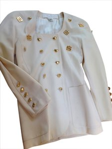 Escada Button Down Shirt cream with Gold detail