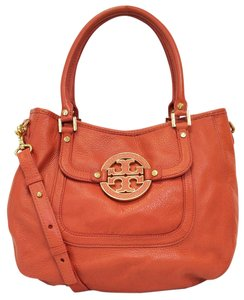 Tory Burch Pebble Leather Convertible Satchel Amanda Pebbled Hobo Bag