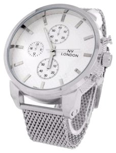 Geneva Platinum Mens Jojo Jojino Watch White Dial Mesh Bracelet Band Ny London Analog Custom