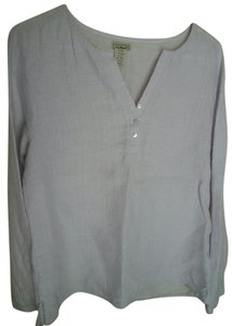 L.L.Bean Linen Long Sleeve Washable Linen Top Pale Silver Lilac